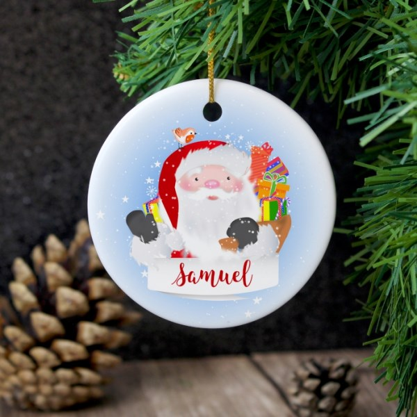 Santa Claus Round Ceramic Decoration