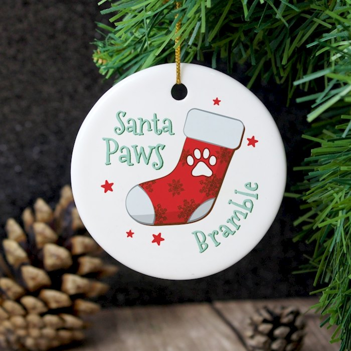 Santa Paws Round Ceramic Decoration