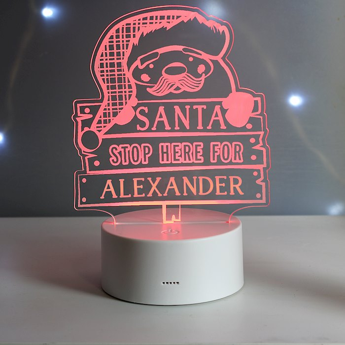 Santa Stop Here LED Colour Changing Night Light