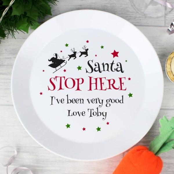 Santa Stop Here Plastic Plate