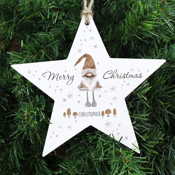 Scandinavian Christmas Gnome Wooden Star Decoration