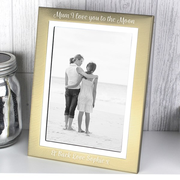 Scripted Gold and Silver Brushed 5x7 Photo Frame