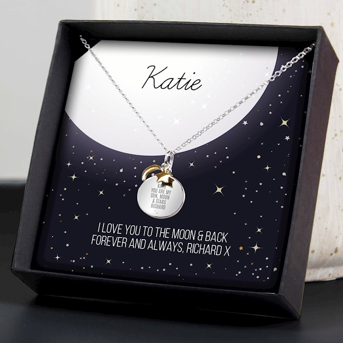 Sentiment Moon & Stars Sterling Silver Necklace and Box