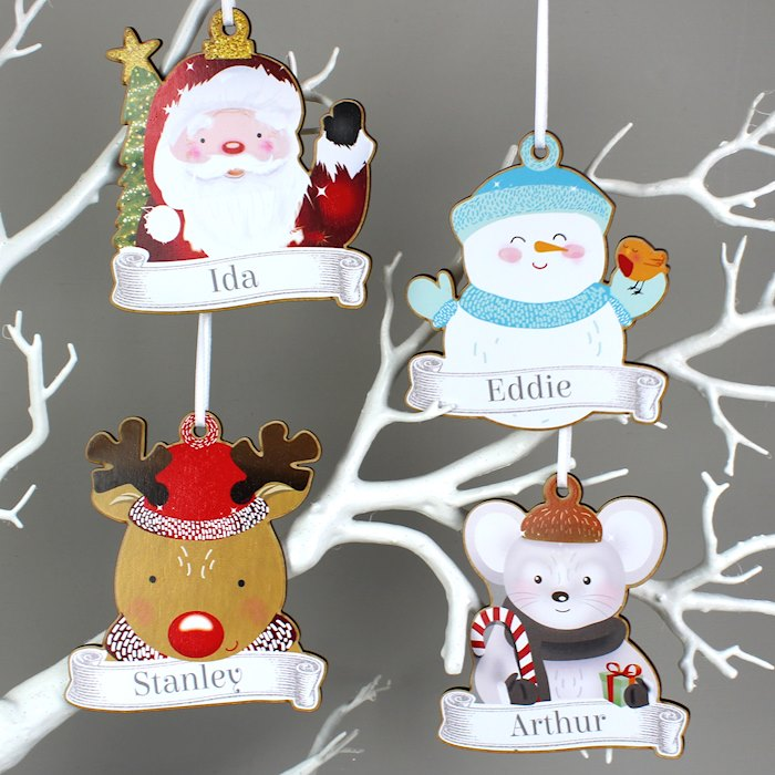 Set of Four Colourful Christmas Characters Wooden Hanging Decorations