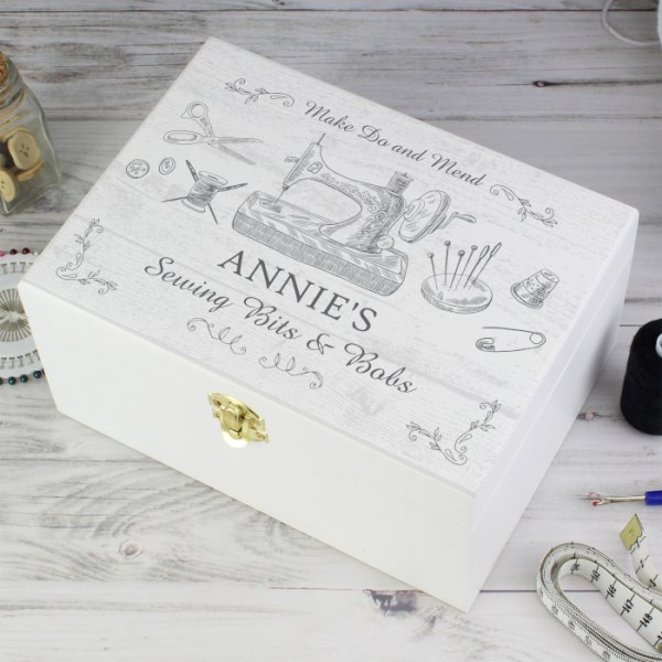 Sewing Kit White Wooden Keepsake Box