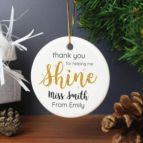 Shine Teacher Round Ceramic Decoration