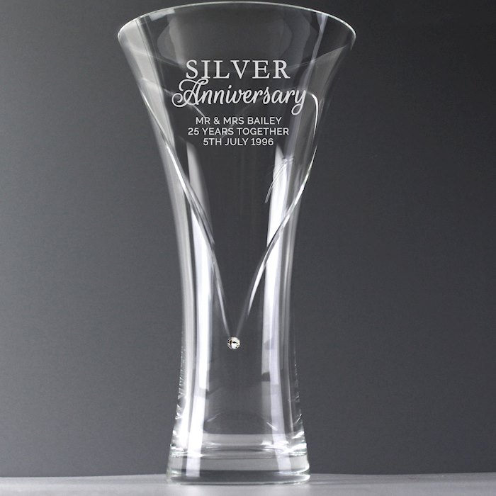 Silver Anniversary Large Hand Cut Diamante Heart Vase with Swarovski Elements