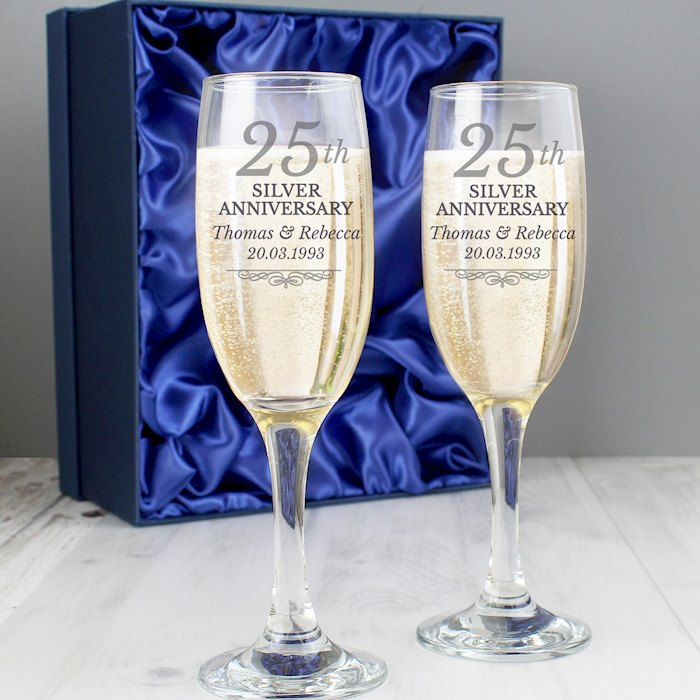 25th Silver Anniversary Pair of Flutes With Gift Box