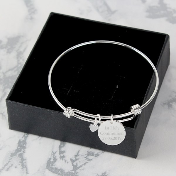 Silver Coloured Disc and Heart Charm Bracelet