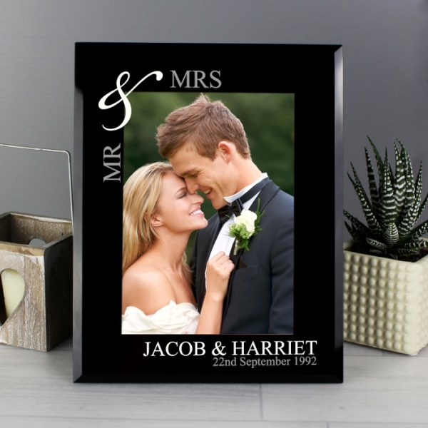 Silver Couples 5x7 Black Glass Photo Frame