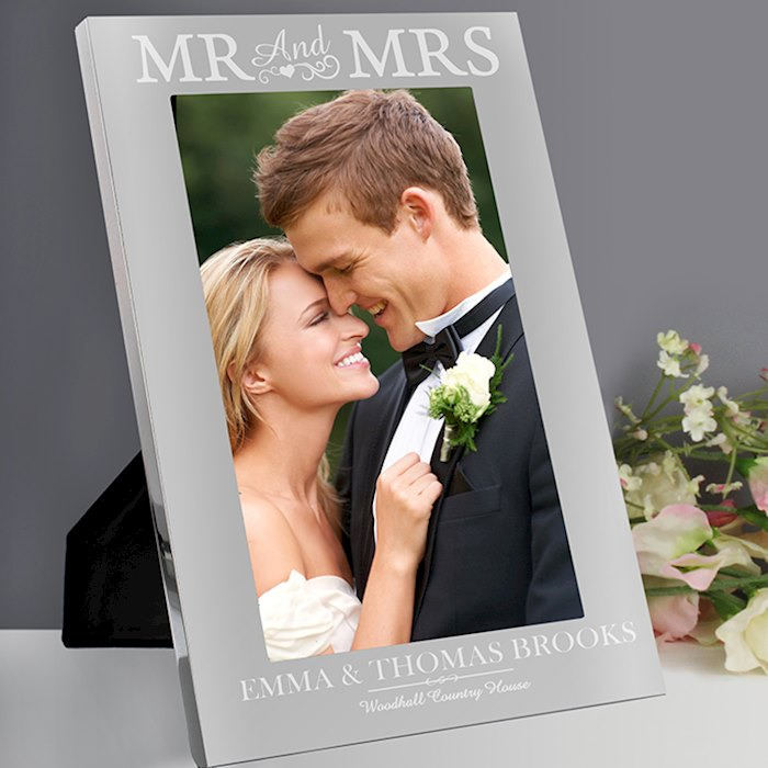 Silver Mr & Mrs 5x7 Photo Frame