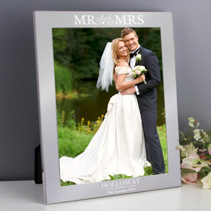 Silver Mr & Mrs 8x10 Photo Frame