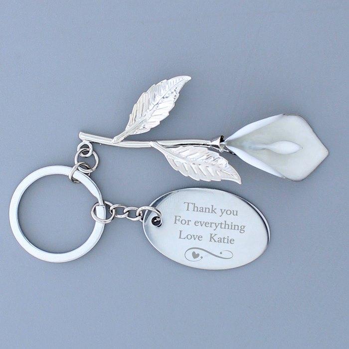 Silver Plated Calla Lily Keyring