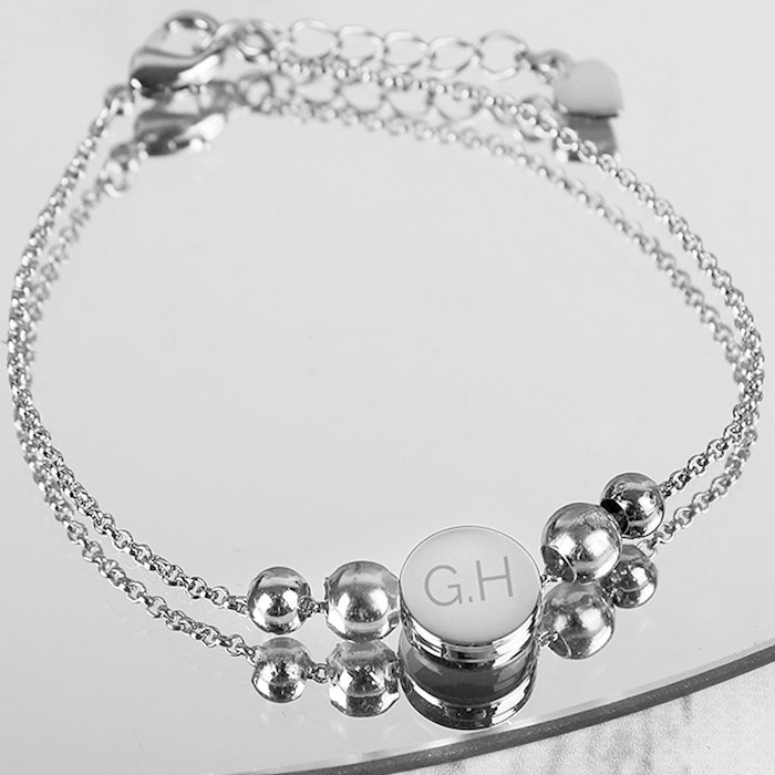 Silver Plated Initials Disc Bracelet