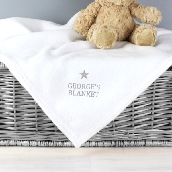 Silver Star White Baby Blanket