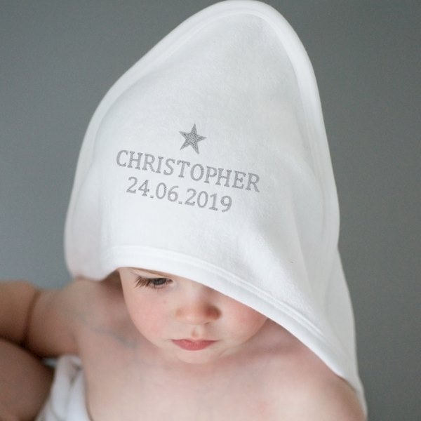 Silver Star White Hooded Baby Towel