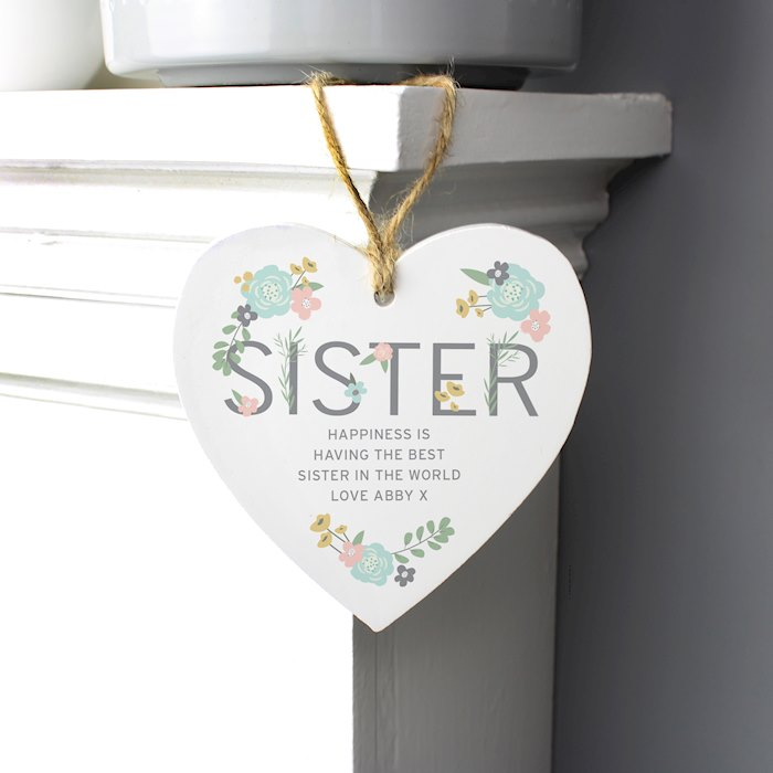 Sister Floral Wooden Heart Decoration