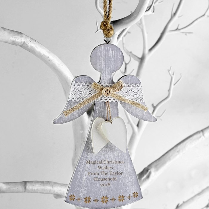 Snowflake Wooden Angel Decoration