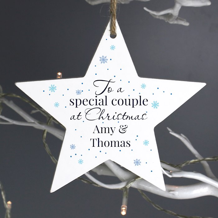 'Special Couple' Wooden Star Decoration