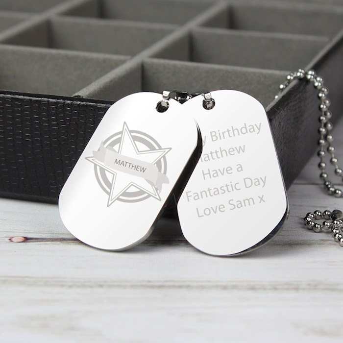 Star Stainless Steel Double Dog Tag Necklace