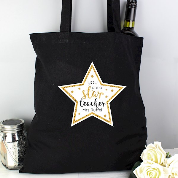 Star Teacher Black Cotton Bag