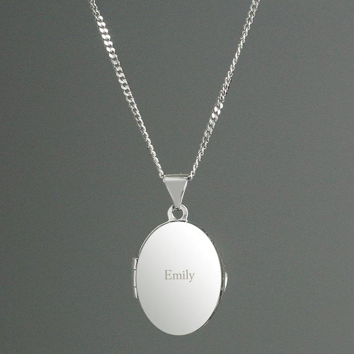 Sterling Silver Oval Locket Necklace