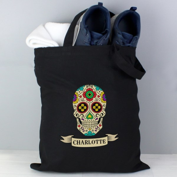 Sugar Skull Black Cotton Bag
