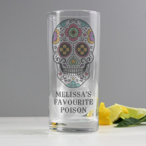 Sugar Skull Hi Ball Glass
