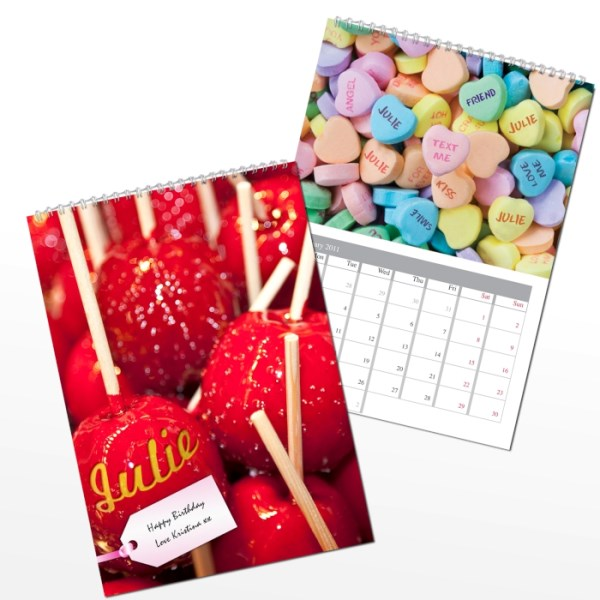 Personalised Sweet Tooth A4 Wall Calendar