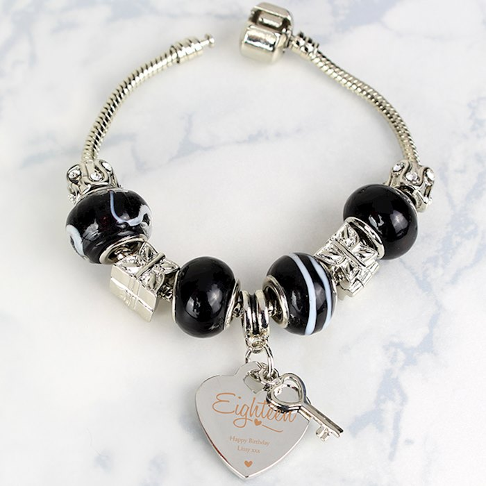 Swirls & Hearts 18th Birthday Key Charm Bracelet - Galaxy - 21cm