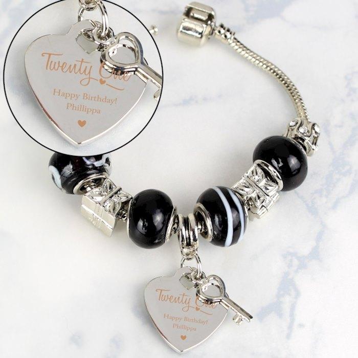 Swirls & Hearts 21st Birthday Key Charm Bracelet - Galaxy - 21cm