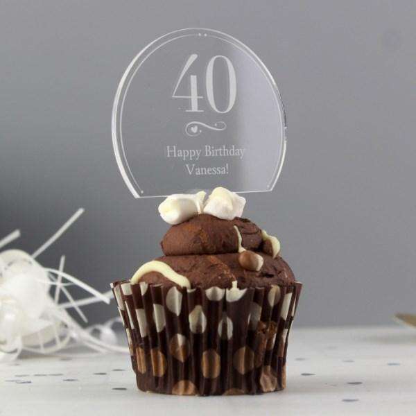Swirls & Hearts Age Acrylic Cake Topper