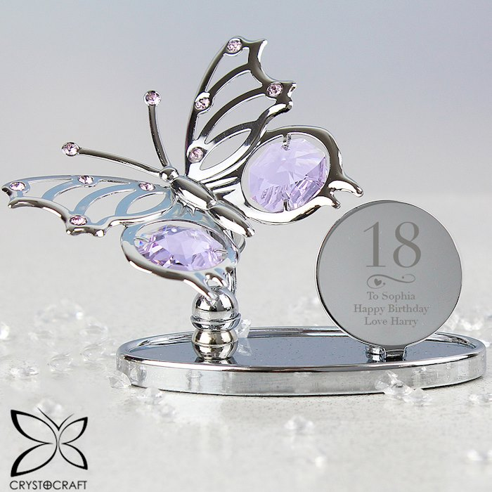 Swirls & Hearts Birthday Crystocraft Butterfly