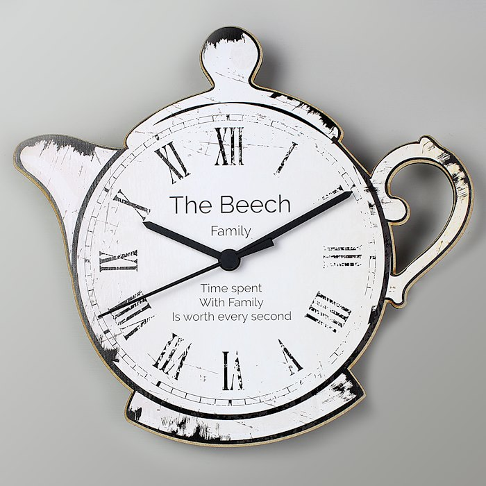 Teapot Shape Wooden Clock