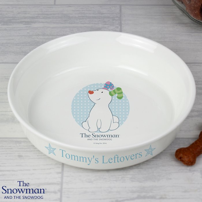 Personalised The Snowdog Blue Dog Bowl