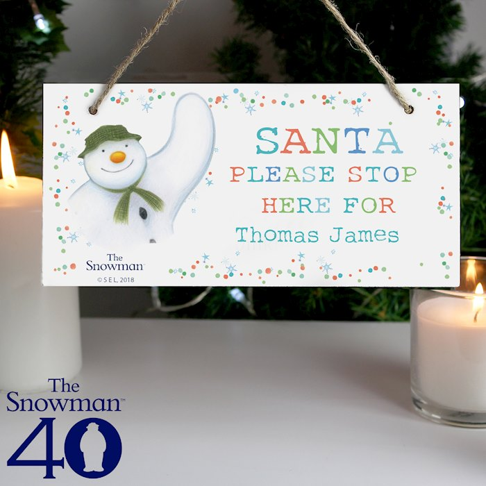 The Snowman Let it Snow Santa Stop Here Wooden Sign