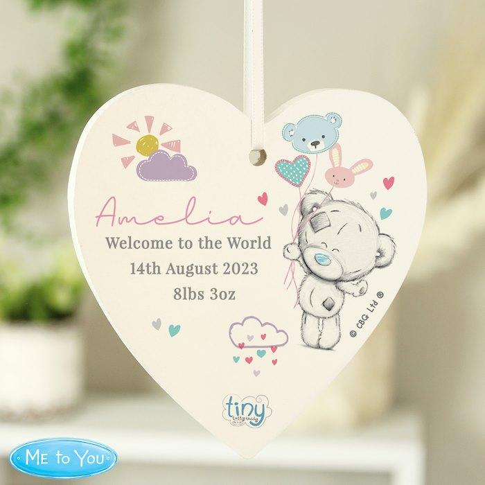 Tiny Tatty Teddy Dream Big Pink Wooden Heart Decoration