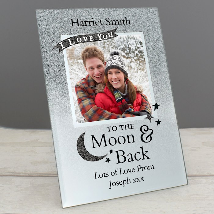 To the Moon and Back 4x4 Glitter Glass Photo Frame