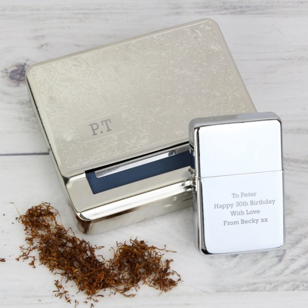 Tobacco Rolling Tin and Silver Lighter Set