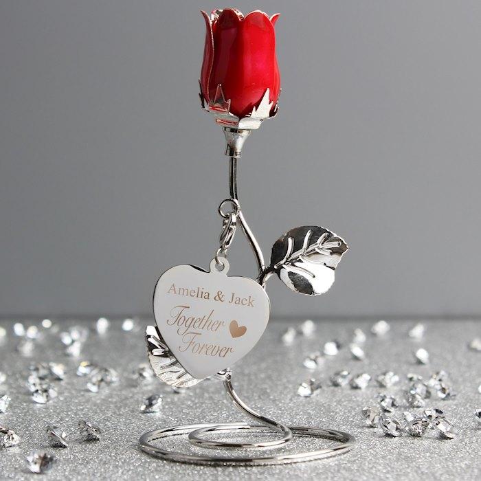 Together Forever Red Rose Bud Ornament
