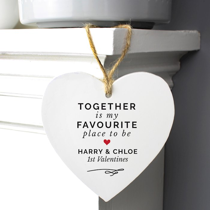 Together Is My Favorite Place Wooden Heart Decoration