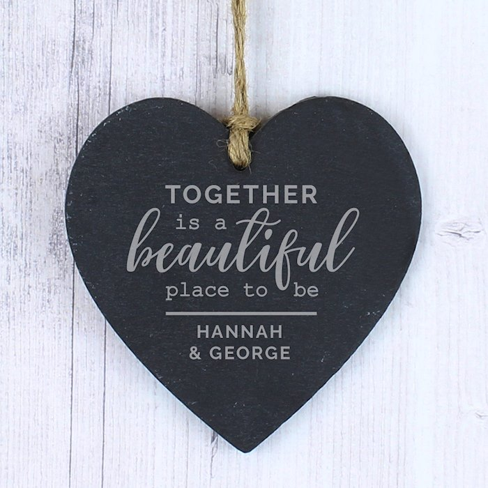 Personalised Together Slate Heart Decoration