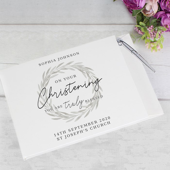 'Truly Blessed' Christening Hardback Guest Book & Pen