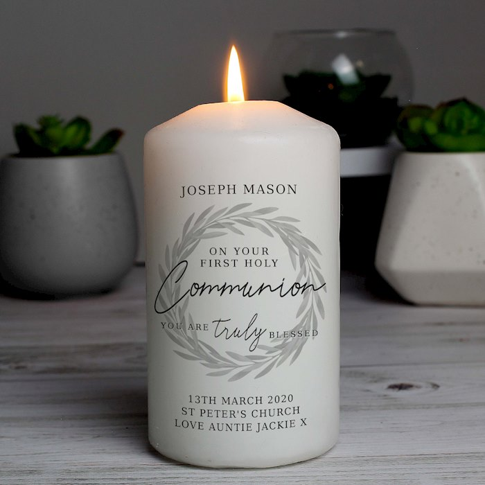 'Truly Blessed' First Holy Communion Pillar Candle