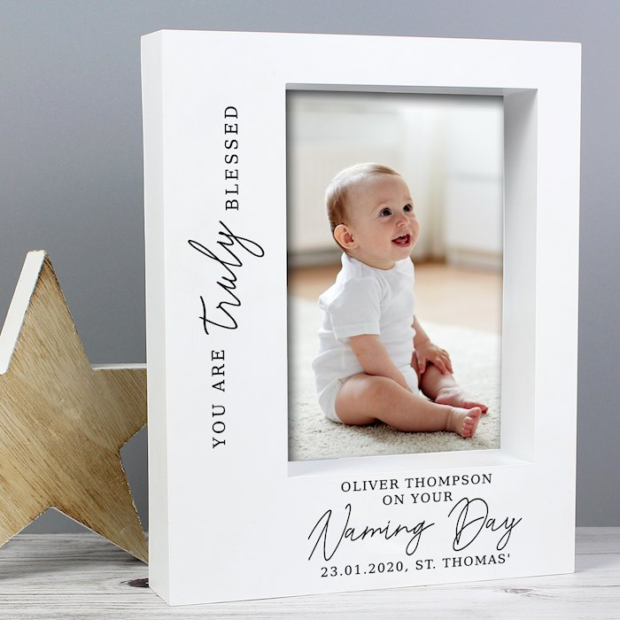 'Truly Blessed' Naming Day 7x5 Box Photo Frame