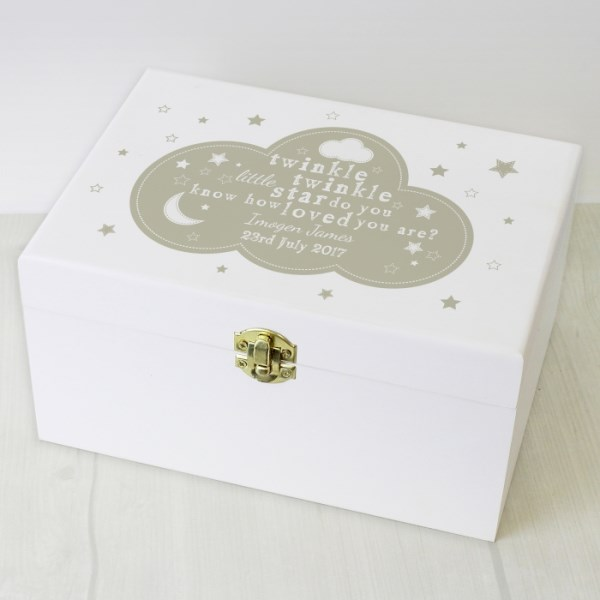 Twinkle Twinkle White Wooden Keepsake Box
