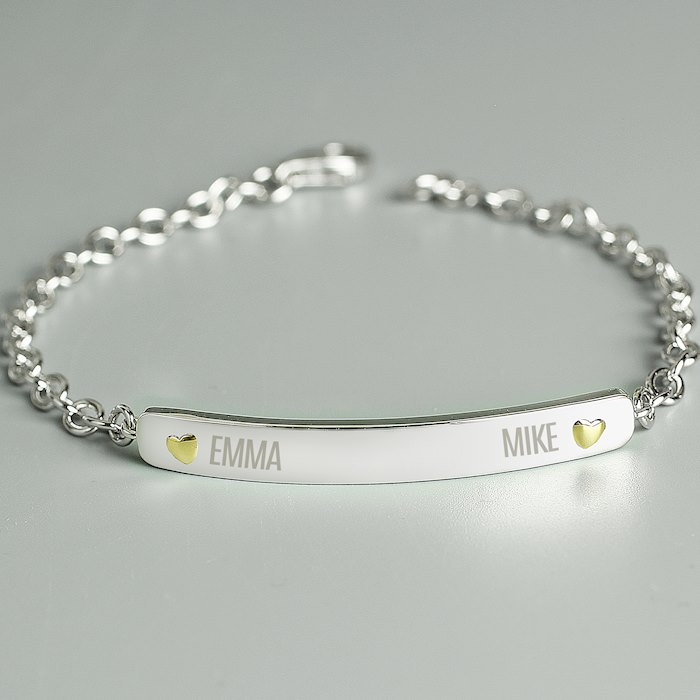Two Names Sterling Silver and 9ct Gold Bar Bracelet