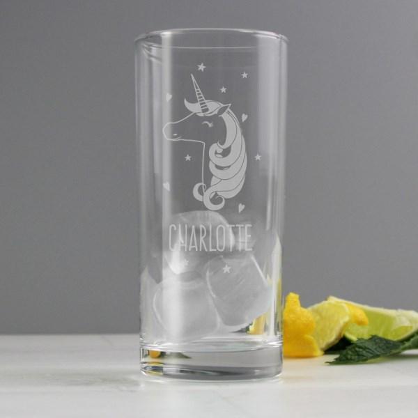 Unicorn Engraved Hi Ball Glass