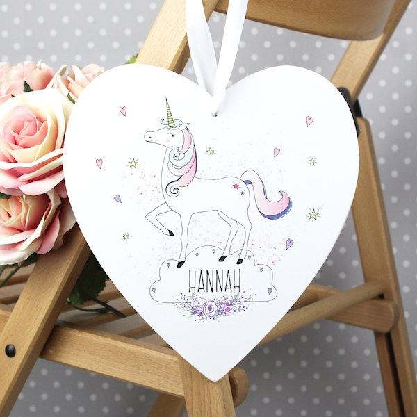 Unicorn 22cm Large Wooden Heart Decoration