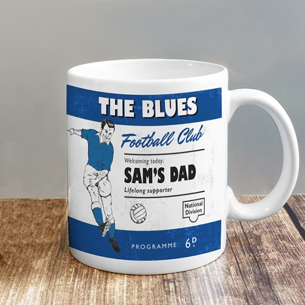 Vintage Football Blue and White Supporter's Mug